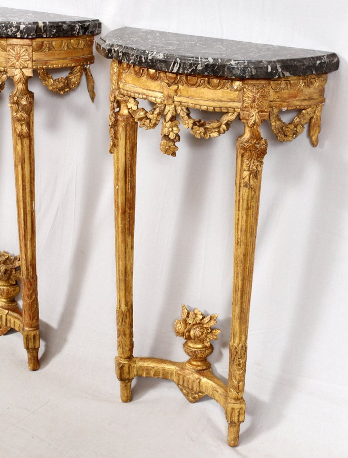 FRENCH CARVED WALNUT CONSOLES PAIR - 2