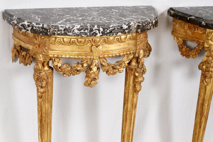 FRENCH CARVED WALNUT CONSOLES PAIR - 3