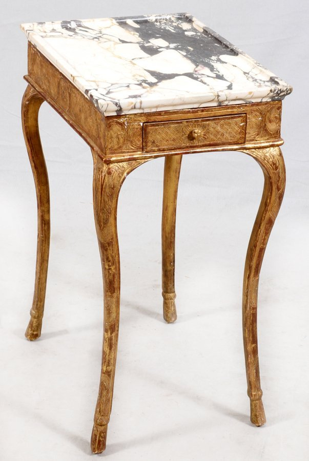 FLORENTINE WHITE MARBLE AND GILT END TABLE