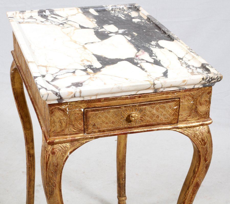 FLORENTINE WHITE MARBLE AND GILT END TABLE - 2