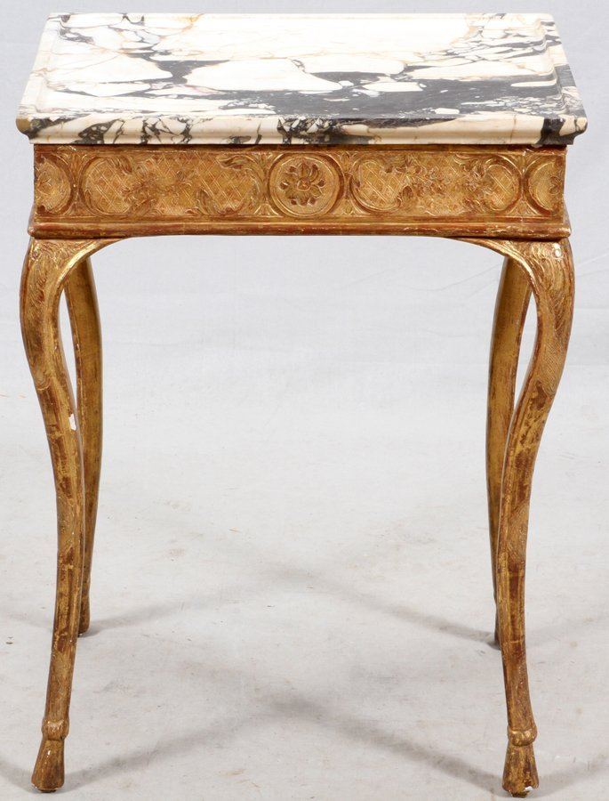 FLORENTINE WHITE MARBLE AND GILT END TABLE - 3