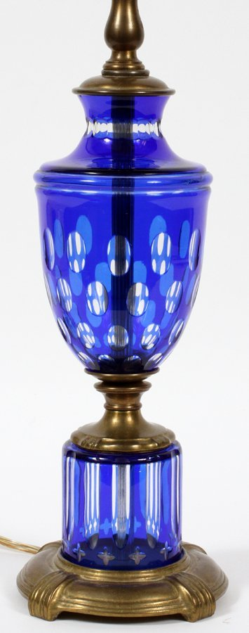 BOHEMIAN BLUE COBALT OVERLAY TABLE LAMP