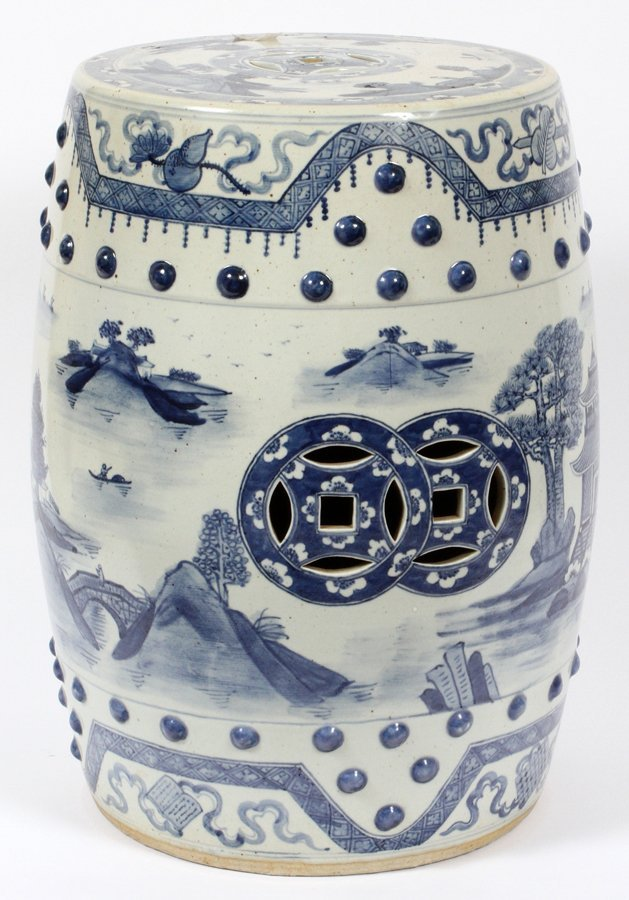 CHINESE PAINTED PORCELAIN GARDEN SEAT