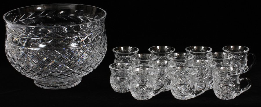 WATERFORD CRYSTAL PUNCH BOWL & 13 CUPS