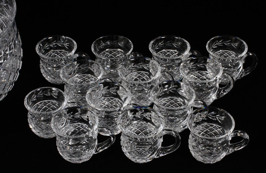 WATERFORD CRYSTAL PUNCH BOWL & 13 CUPS - 2