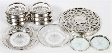 AMERICAN STERLING SILVER & CRYSTAL TRIVETS&COASTERS