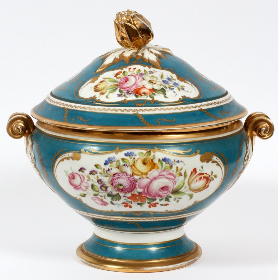 FRENCH SEVRES PORCELAIN TUREEN W/ COVER 19TH.C. - 2