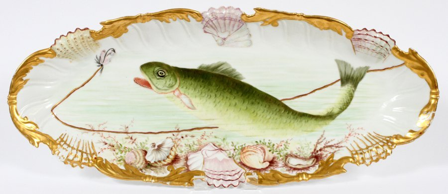 T & V LIMOGES FISH PLATTER CIRCA 1880