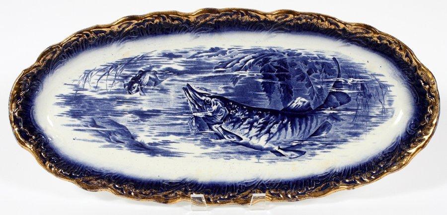 STAFFORDSHIRE BLUE TRANSFER FISH PLATTER