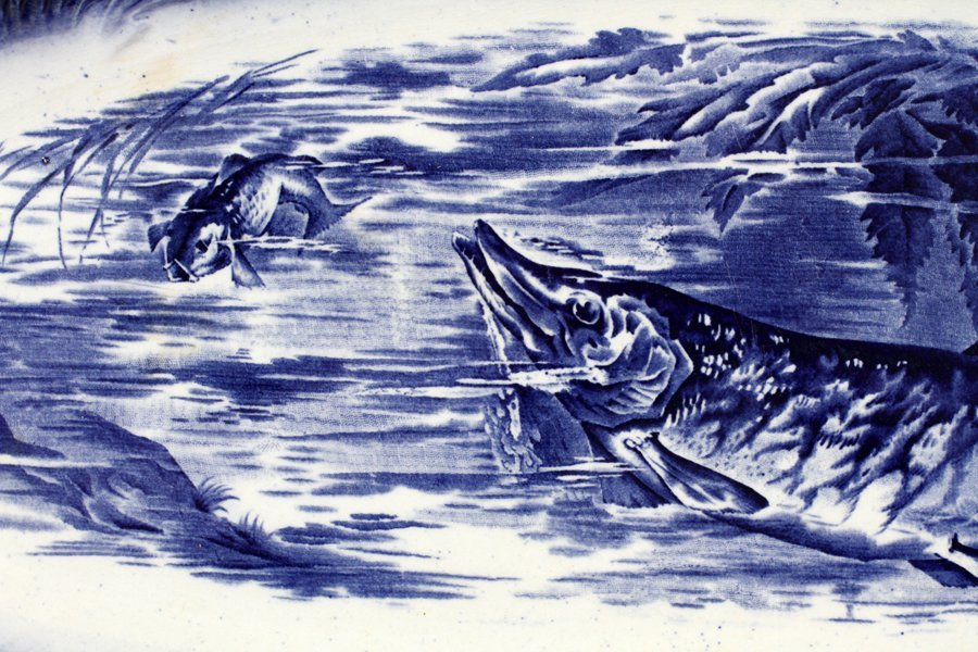 STAFFORDSHIRE BLUE TRANSFER FISH PLATTER - 2