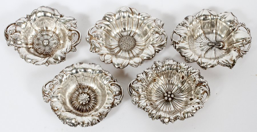 STERLING SILVER NUT DISHES FIVE