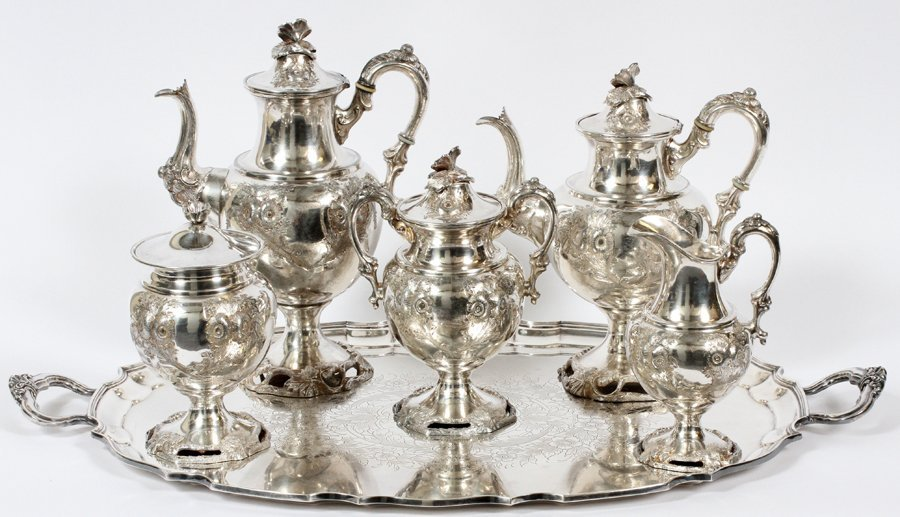 SILVERPLATE TEA & COFFEE SET AND TRAY 6 PIECES
