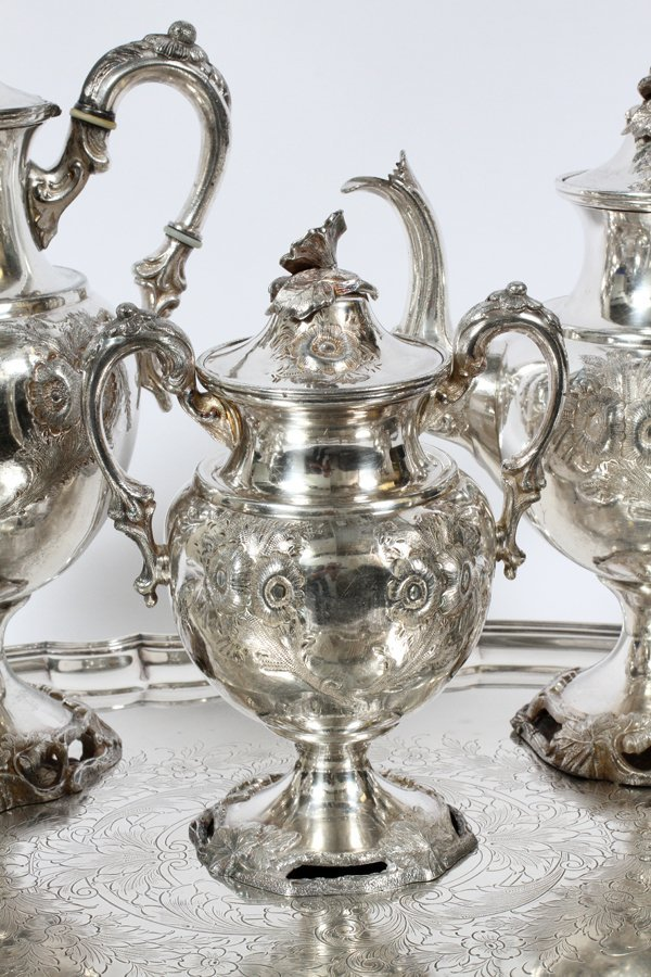SILVERPLATE TEA & COFFEE SET AND TRAY 6 PIECES - 2