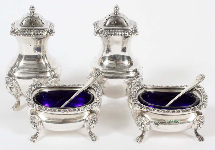 SHEFFIELD PLATE SILVER OPEN SALTS & PEPPER SHAKERS