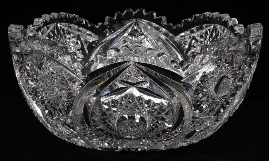 BRILLIANT PERIOD CUT GLASS FRUIT BOWL CIRCA 1900