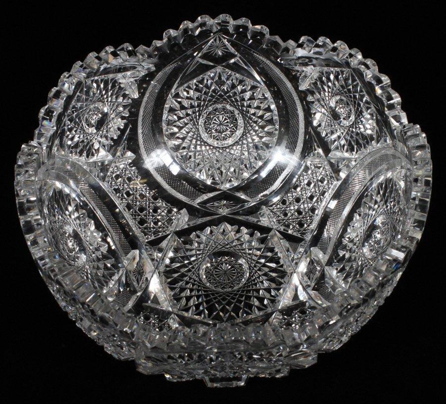 BRILLIANT PERIOD CUT GLASS FRUIT BOWL CIRCA 1900 - 2