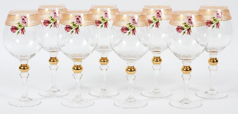 GILT AND GLASS WINE GOBLETS 8 PIECES