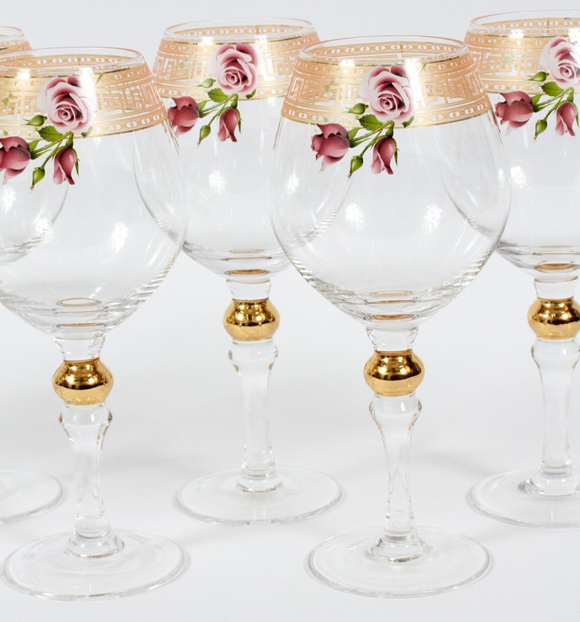 GILT AND GLASS WINE GOBLETS 8 PIECES - 2