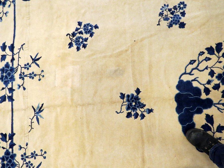 CHINESE HANDWOVEN WOOL CARPET C. 1930-1950 - 4