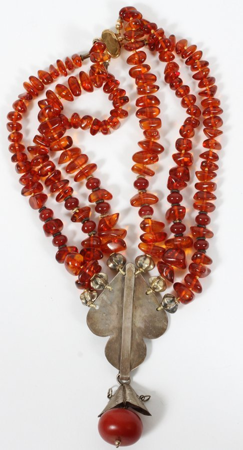 AMBER BEADED COCKTAIL NECKLACE - 2