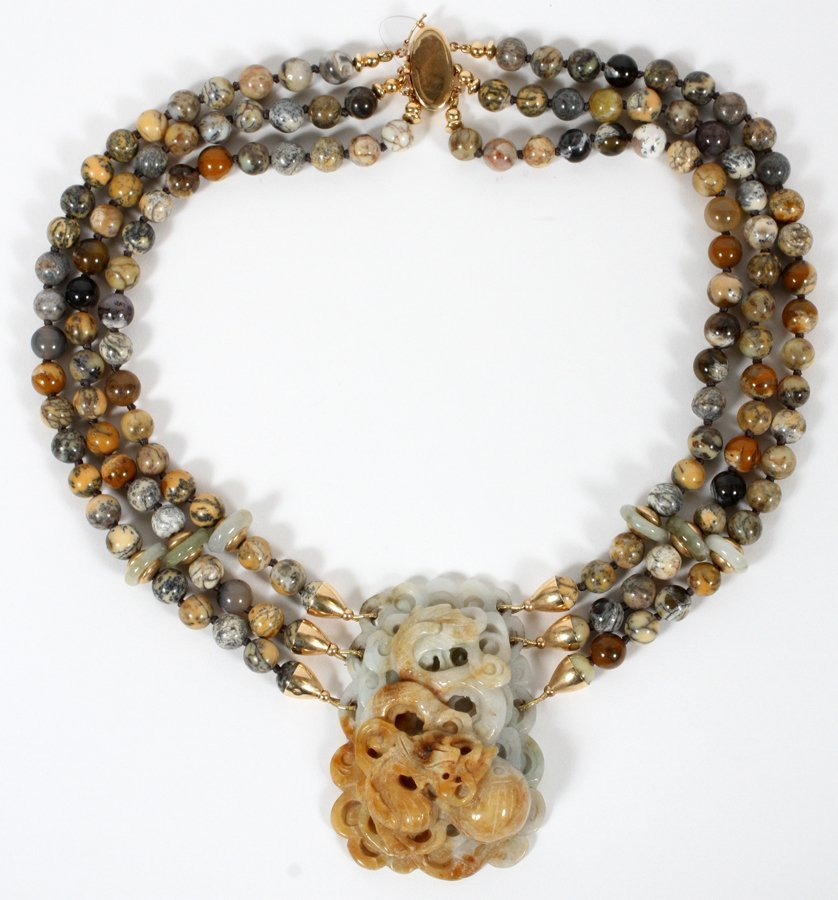 SOAPSTONE JADE MULTICOLORED BEADED NECKLACE