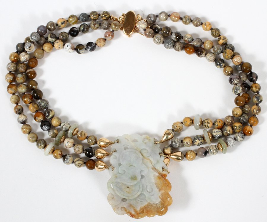SOAPSTONE JADE MULTICOLORED BEADED NECKLACE - 2
