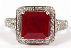 14KT WHITE GOLD AND SYNTHETIC RUBY RING
