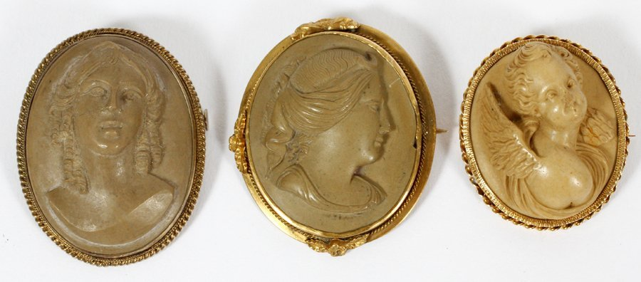 PORTRAIT CAMEO LAVA BROOCHES 800PT. VERMEIL MOUNTS