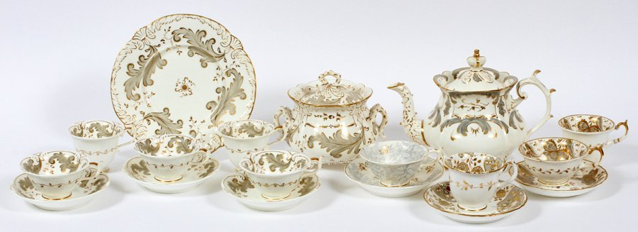 ROCKINGHAM TEA SET & ASSORTED CUPS CIRCA 1830