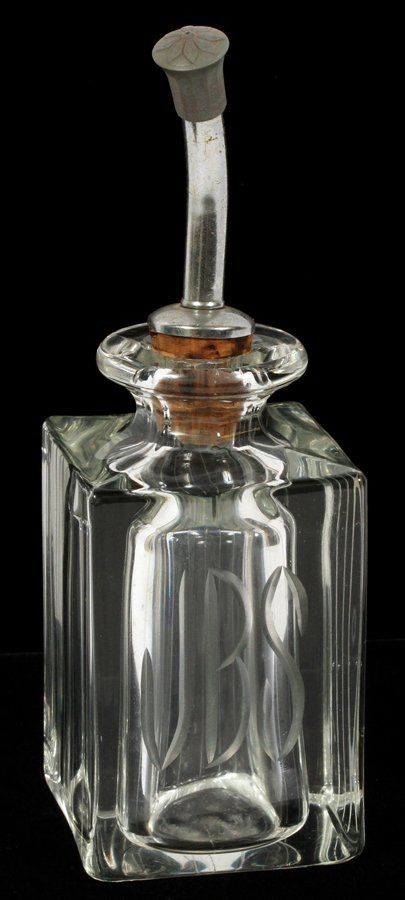 ETCHED GLASS INITIALS J.B.S. COLOGNE BOTTLE
