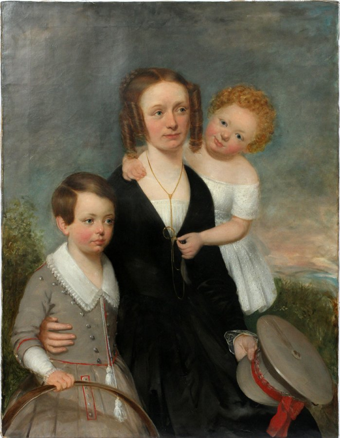 AMERICAN FAMILY PORTRAIT OIL ON CANVAS 19TH.C.