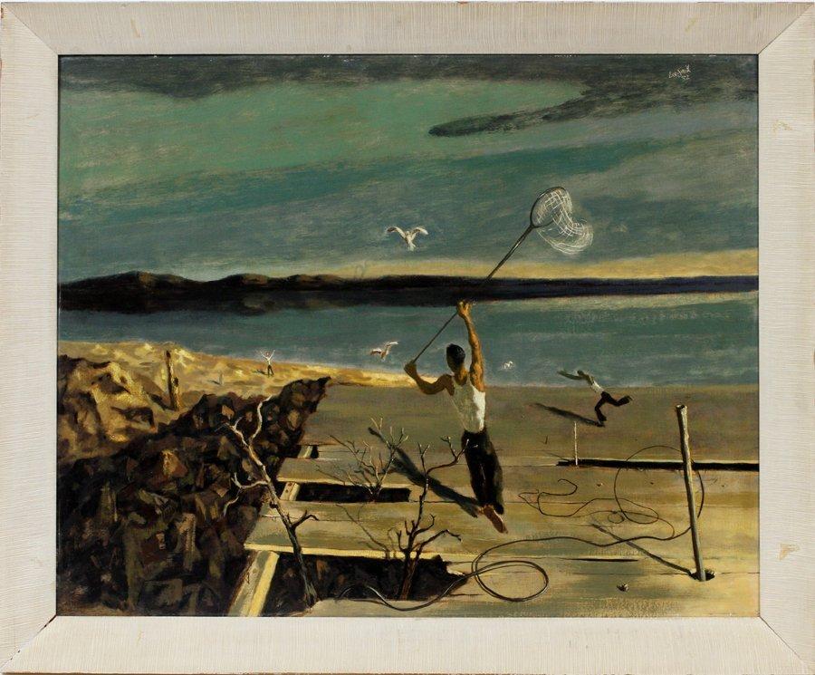 HUGHIE LEE-SMITH OIL ON BOARD 1952