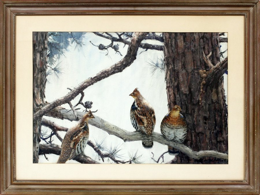 AIDEN LASSELL RIPLEY WATERCOLOR THREE GROUSE