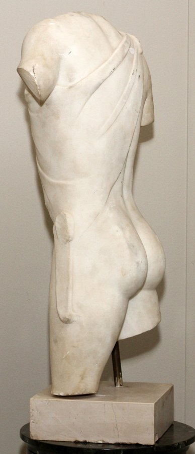ITALIAN CARVED MARBLE TORSO - 2