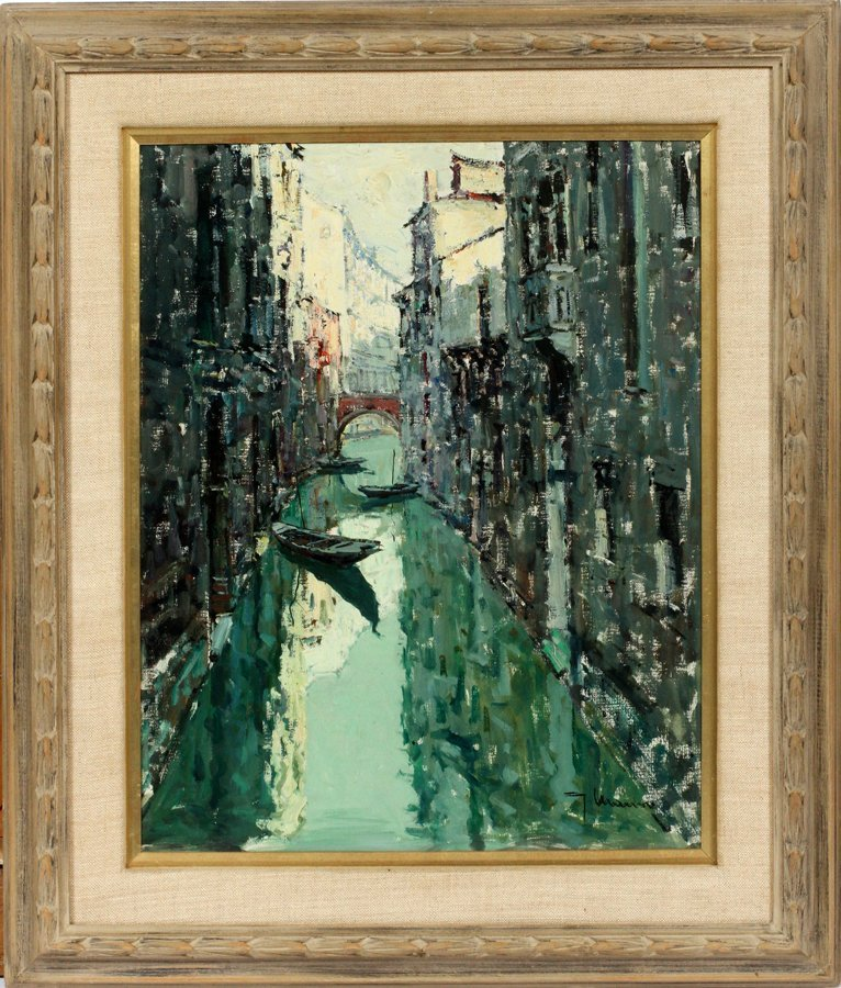 JACOPO MARINO OIL ON CANVAS, CARVED WOOD FRAME