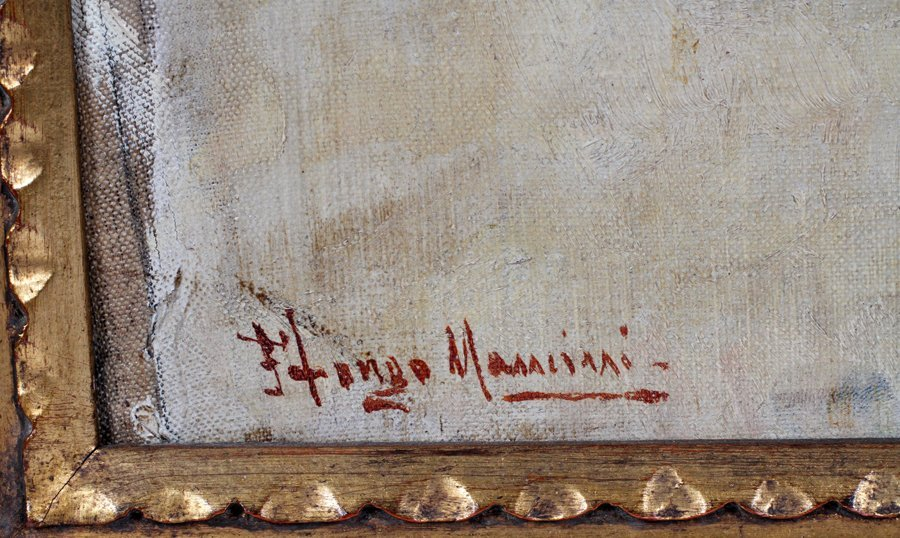 ILLEGIBLY SIGNED OIL ON CANVAS - 2