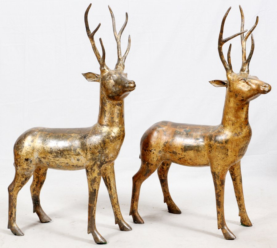 CHINESE GILT BRONZE DEER SCULPTURES PAIR