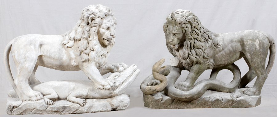 CARVED STONE GARDEN LIONS C. 1890 TO EARLY 20TH C.