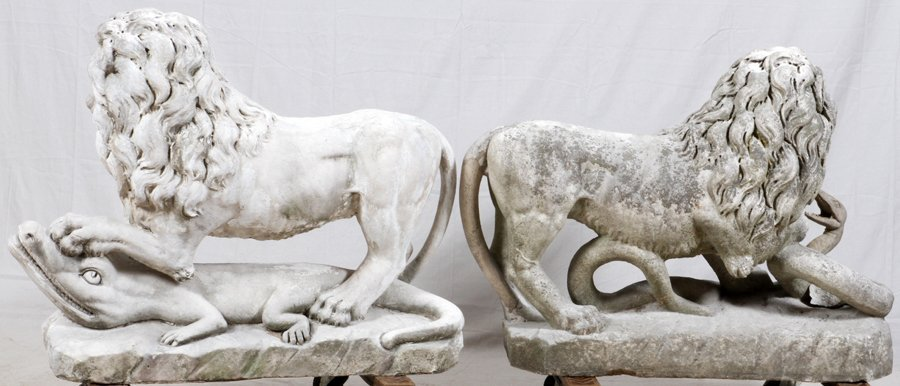 CARVED STONE GARDEN LIONS C. 1890 TO EARLY 20TH C. - 2