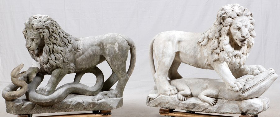 CARVED STONE GARDEN LIONS C. 1890 TO EARLY 20TH C. - 5