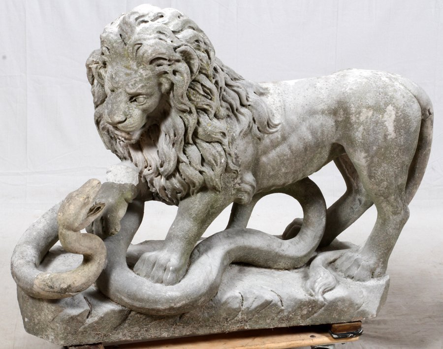 CARVED STONE GARDEN LIONS C. 1890 TO EARLY 20TH C. - 7