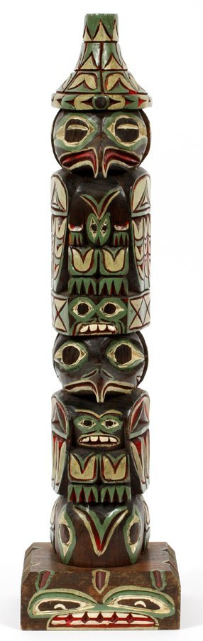 RICK WILLIAMS INUIT CARVED WOOD TOTEM