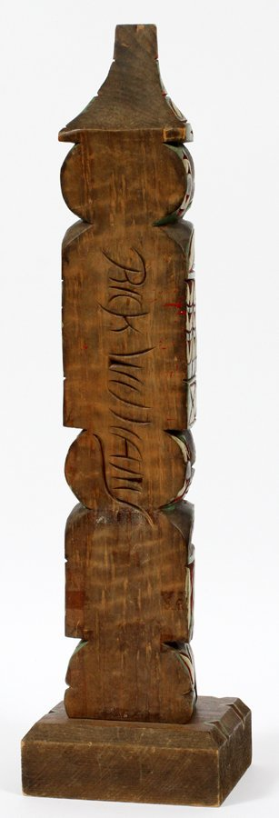 RICK WILLIAMS INUIT CARVED WOOD TOTEM - 2