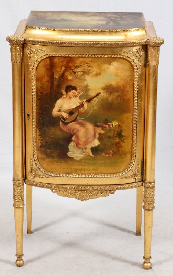 PAINE FURNITURE CO. GILT WOOD MUSIC CABINET