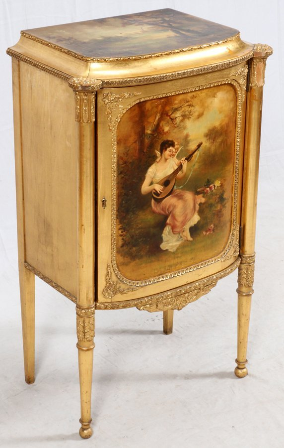PAINE FURNITURE CO. GILT WOOD MUSIC CABINET - 2