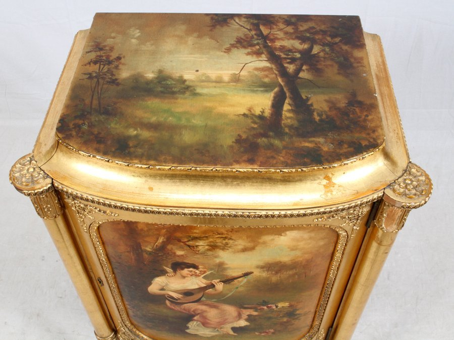 PAINE FURNITURE CO. GILT WOOD MUSIC CABINET - 3