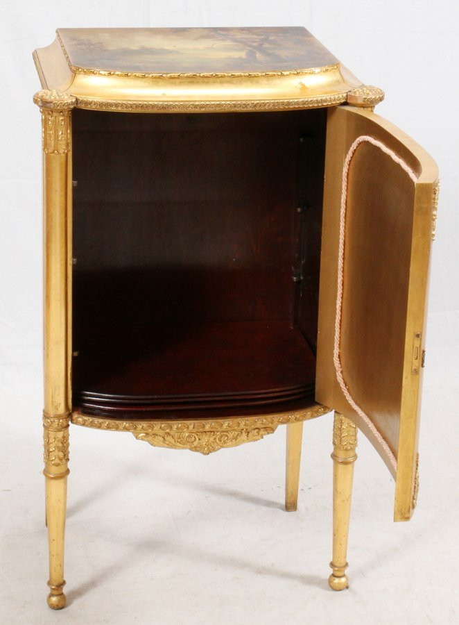 PAINE FURNITURE CO. GILT WOOD MUSIC CABINET - 4