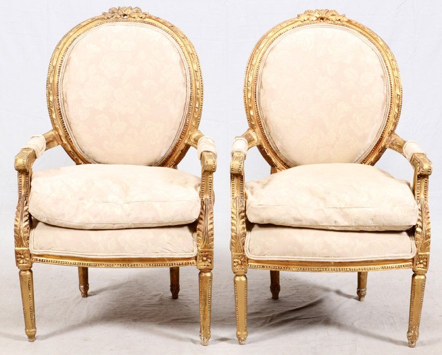 FRENCH STYLE LOUIS XVI GILT WOOD CHAIRS PAIR