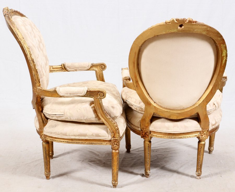 FRENCH STYLE LOUIS XVI GILT WOOD CHAIRS PAIR - 2