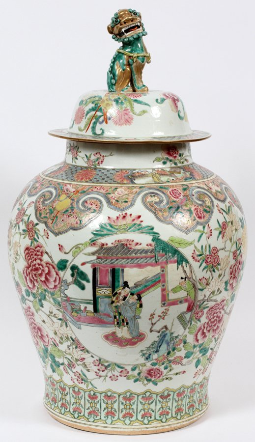 CHINESE PORCELAIN COVERED URN C. 1890